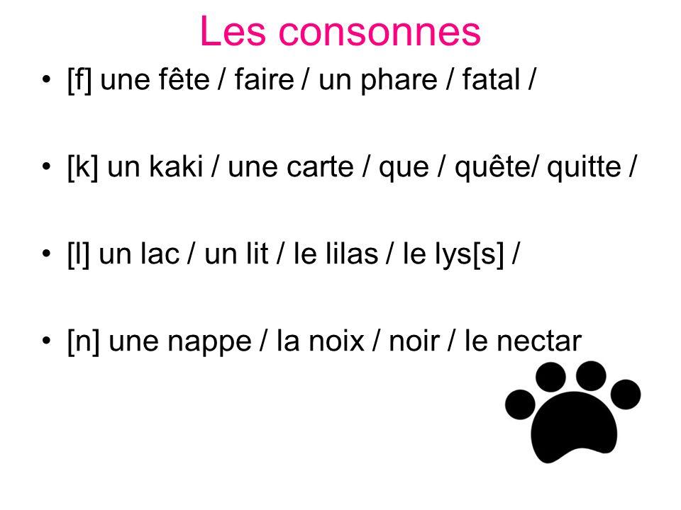 Les consonnes [f] une fête / faire / un phare / fatal /